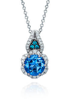 Le Vian Ocean Blue Topaz™, Vanilla Diamond® and Blueberry Diamond® Pendant in 14k Vanilla Gold®