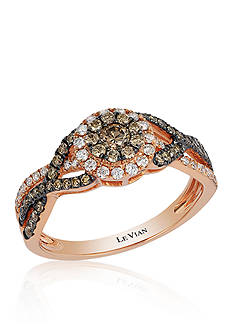 Le Vian Vanilla Diamond and Chocolate Diamond Cluster Ring in 14k Strawberry Gold