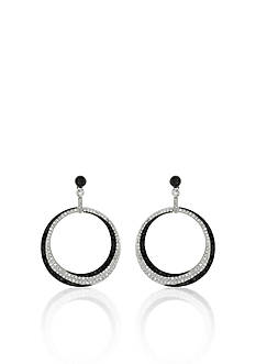 Belk & Co. Black and White Diamond Circle Earrings in 14k White Gold