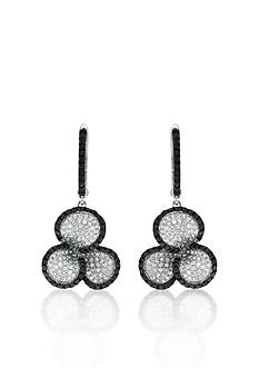 Belk & Co. Black and White Diamond Clover Earrings in 14k White Gold