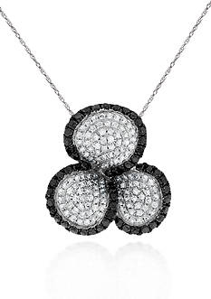 Belk & Co. Black and White Diamond Clover Pendant in 14k White Gold