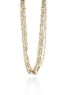 Belk & Co. 10k Yellow Gold Freshwater Pearl Multi Strand Necklace