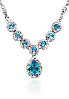 Belk & Co. Sterling Silver White and Blue Topaz Necklace