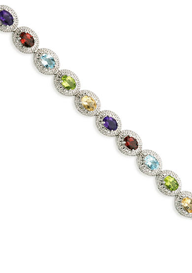 Belk & Co. Sterling Silver Multi Color Gemstone and Diamond Bracelet
