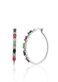 Belk & Co. Sterling Silver Multi Gemstone and Diamond Hoop Earrings