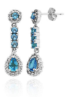 Belk & Co. Sterling Silver White and Blue Topaz Earrings