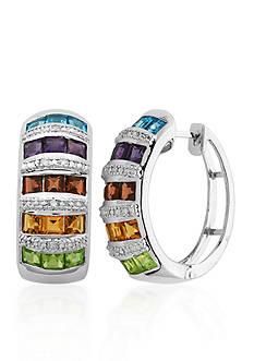 Belk & Co. Sterling Silver Multi Color Gemstone and Diamond Hoop Earrings