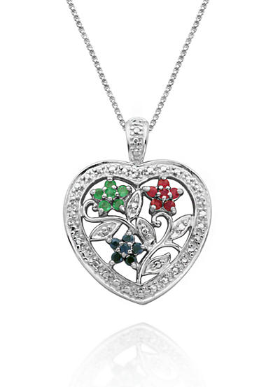 Belk & Co. Rhodium Plated Genuine Diamond Accent Ruby, Emerald, & Sapphire Floral Motif Heart Pendant Set in Sterling Silver