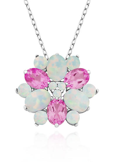 Belk & Co. Created Opal and Pink Topaz Flower Pendant in Sterling Silver