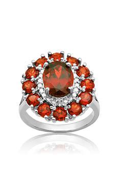 Belk & Co. Sterling Silver Garnet and Diamond Cluster Ring