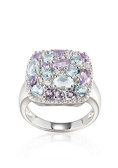 Belk & Co. Rhodium Plated Genuine Brazilian Amethyst & Sky Blue Topaz Cluster Ring set in Sterling Silver