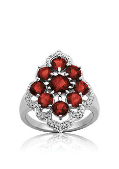 Belk & Co. Sterling Silver Garnet and Diamond Ring