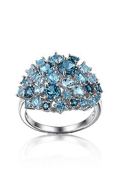 Belk & Co. Sterling Silver Rhodium Plated Genuine London Blue, Sky Blue, & Swiss Blue Topaz Cluster Ring