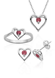 Belk & Co. Sterling Silver Ruby Heart 3-Piece Boxed Set