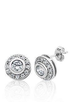 Belk & Co. Platinum Plated Sterling Silver Cubic Zirconia Stud Earrings