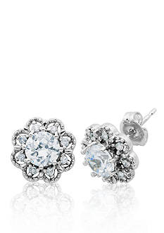 Belk & Co. Platinum Plated Sterling Silver Cubic Zirconia Stud Earrings