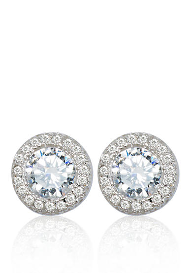 Belk & Co. Platinum Plated Sterling Silver Pave Cubic Zirconia Earrings
