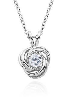 Belk & Co. Platinum-Plated Sterling Silver Cubic Zirconia Swirl Pendant