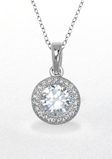 Belk & Co. Platinum Plated Sterling Silver Cubic Zirconia Round Pendant