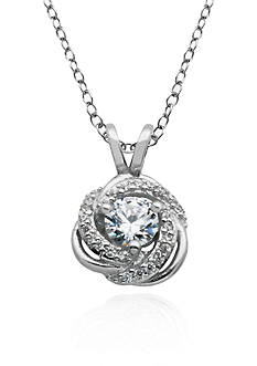 Belk & Co. Platinum Plated Sterling Silver Cubic Zirconia Swirl Pendant