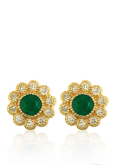 Effy® 14k Yellow Gold Emerald and Diamond Flower Earrings