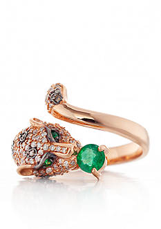 Effy 14k Rose Gold Emerald and Diamond Panther Ring