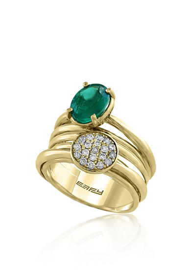 Effy® Oval Emerald & 0.23 ct. t.w. Diamonds Cluster Ring set in 14K Yellow Gold
