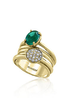 Effy Oval Emerald & 0.23 ct. t.w. Diamonds Cluster Ring set in 14K Yellow Gold