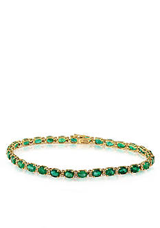 Effy 14k Yellow Gold Emerald and Diamond Tennis Bracelet