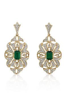 Effy 14k Yellow Gold Emerald and Diamonds Earrings