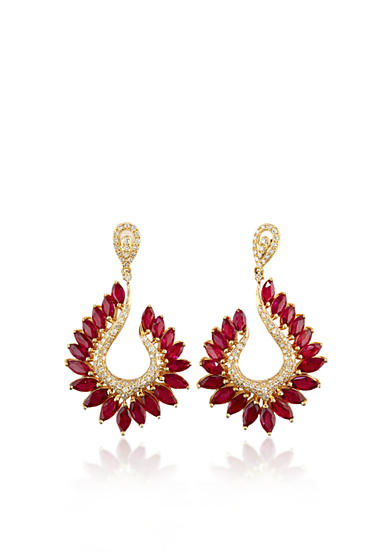 Effy® 14k Yellow Gold Ruby and Diamond Marquise Earrings