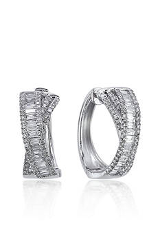 Effy Diamond Hoop Earrings in 14k White Gold