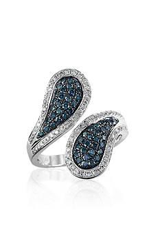 Effy Blue and White Diamond Ring in 14k White Gold