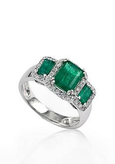 Effy 14k White Gold Emerald and Diamond Ring