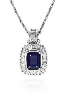 Effy 14k White Gold Sapphire and Diamond Pendant