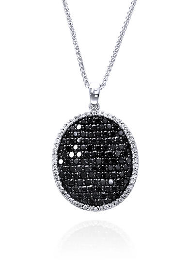 Effy® Black and White Diamond Oval Pendant Necklace in 14k White Gold