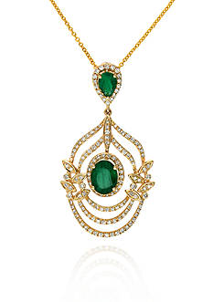Effy 14k Yellow Gold Emerald and Diamond Leaf Pendant