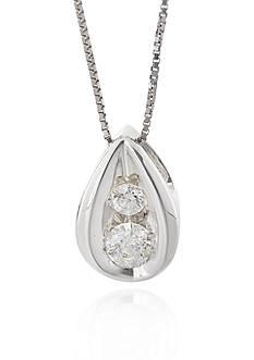 Belk & Co. Diamond Teardrop Pendant in 10k White Gold