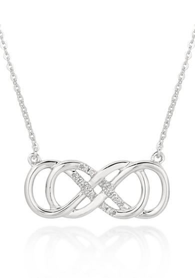 Belk & Co. Diamond Double Infinity Horizontal Necklace in Sterling Silver