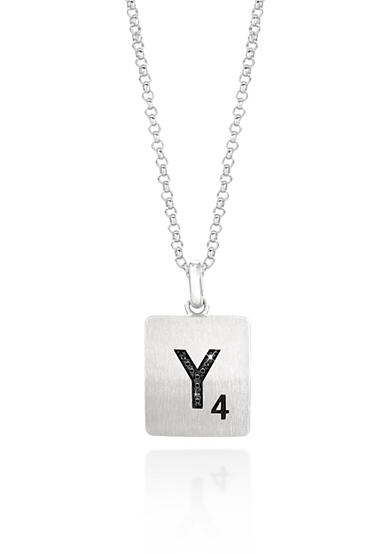 Belk & Co. Black Diamond Scrabble Initial Y Pendant in Sterling Silver