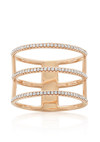 Belk & Co. Diamond Three Row Ring in 14k Rose Gold