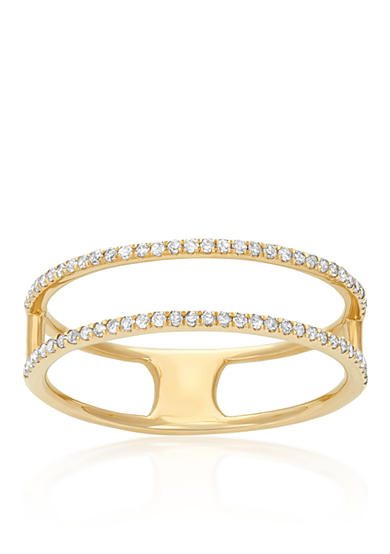 Belk & Co. Diamond Two Row Ring in 14k Yellow Gold