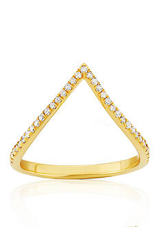 Belk & Co. Diamond V Ring in 14k Yellow Gold