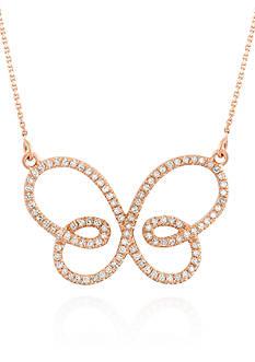 Belk & Co. Diamond Butterfly Necklace in 14k Rose Gold