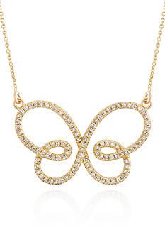 Belk & Co. Diamond Butterfly Necklace in 14k Yellow Gold
