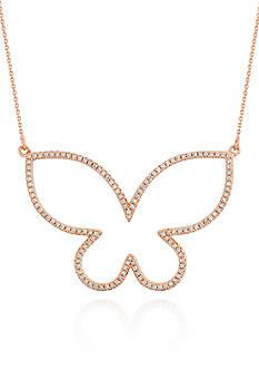 Belk & Co. Diamond Open Butterfly Necklace in 14k Rose Gold