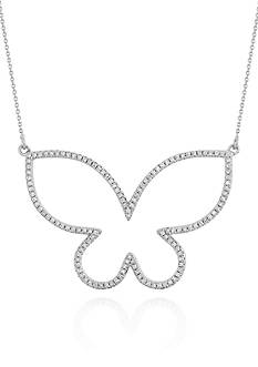 Belk & Co. Diamond Open Butterfly Necklace in 14k White Gold