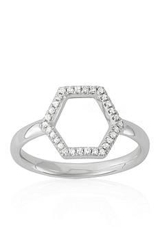 Belk & Co. Diamond Open Hexagon Midi Ring in 14k White Gold
