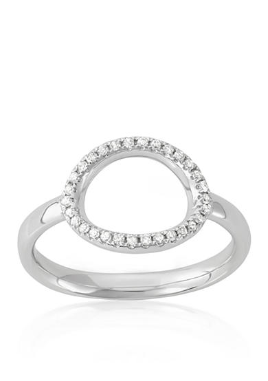 Belk & Co. Diamond Open Oval Midi Ring in 14k White Gold