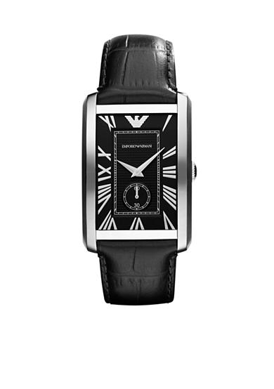 Emporio Armani® Men's Stainless Steel and Black Strap Watch